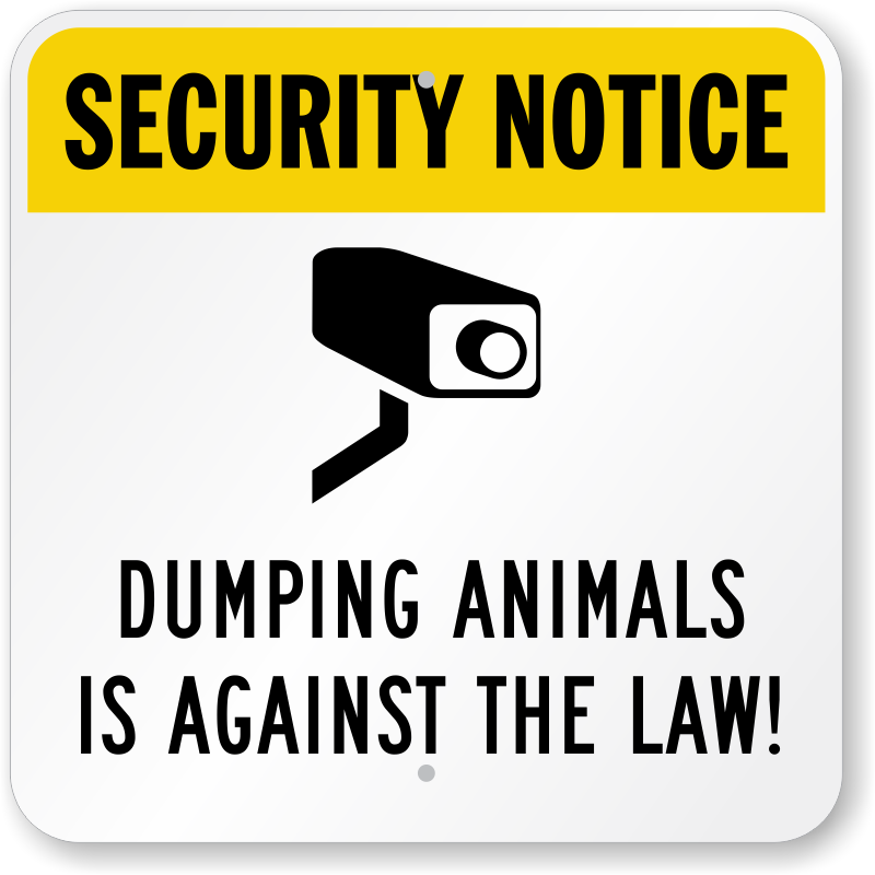 Yellow Notice On Front Door: Dumping Animals Against Law Sign