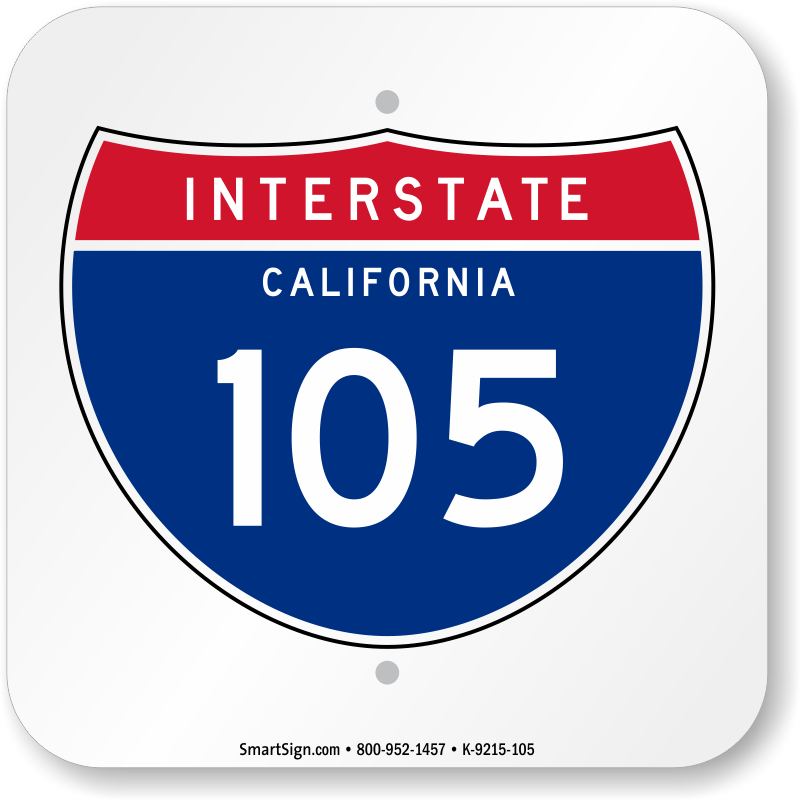 California Interstate 105 Sign Novelty Highway Signs