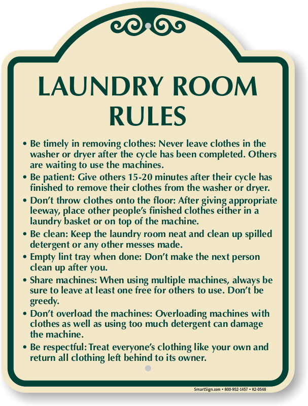 Laundromat rules sign delectable 10 x 12 laundry rules for Room design rules