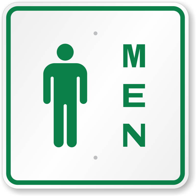 Men Restroom Sign With Male Symbol Free Shipping SKU K