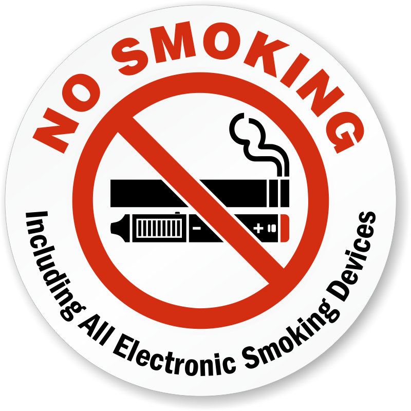 No Smoking Including All Electronic Smoking Devices Label