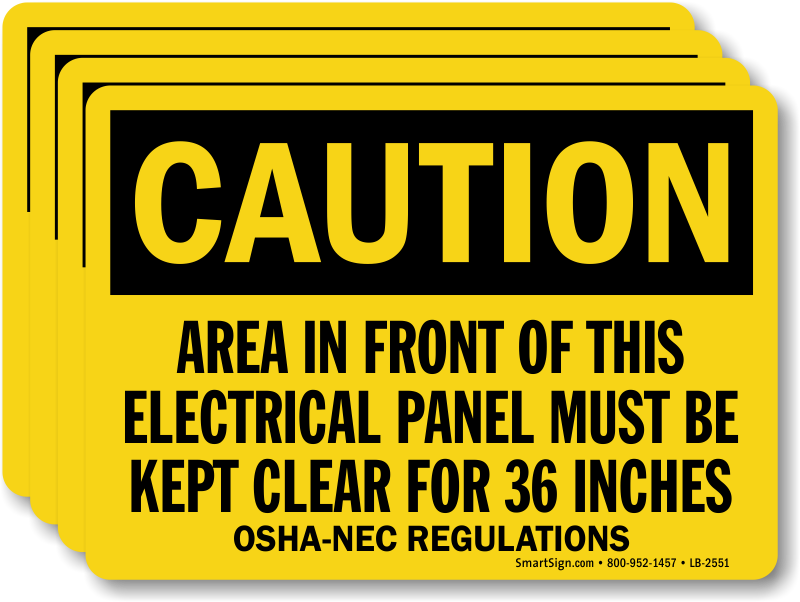 Electrical panel must be kept clear label top quality for Osha bathroom requirements