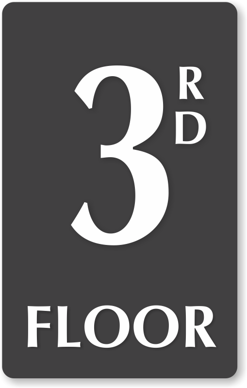 3rd Floor Number Engraved Sign Unbeatable Prices Sku