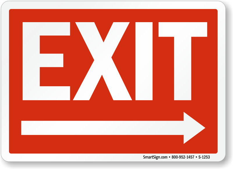Exit Right Arrow Signs And Exit Entrance Signs At Low