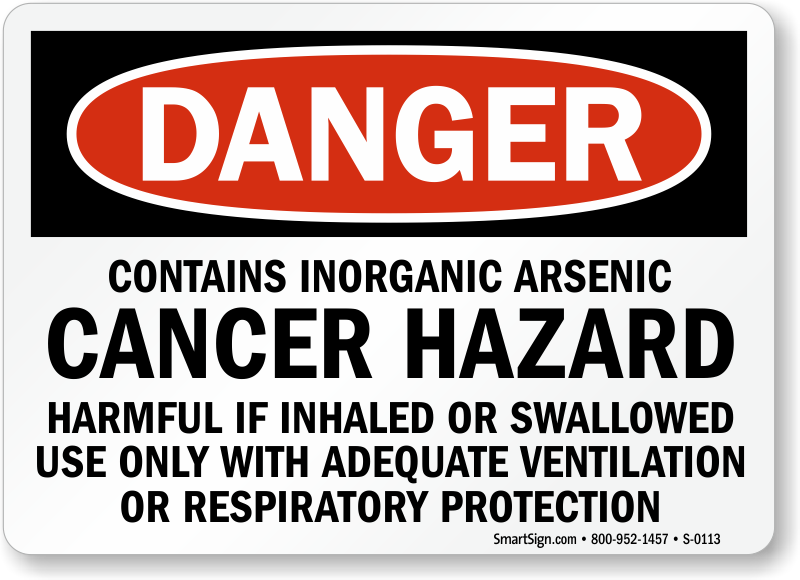arsenic cancer hazard sign respiratory protection required sku s 0113. Black Bedroom Furniture Sets. Home Design Ideas
