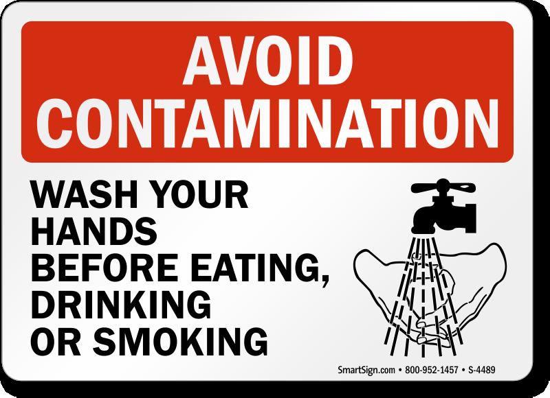 Bathroom Signs Wash Hands avoid contamination wash hands restroom hygiene sign, sku: s-4489