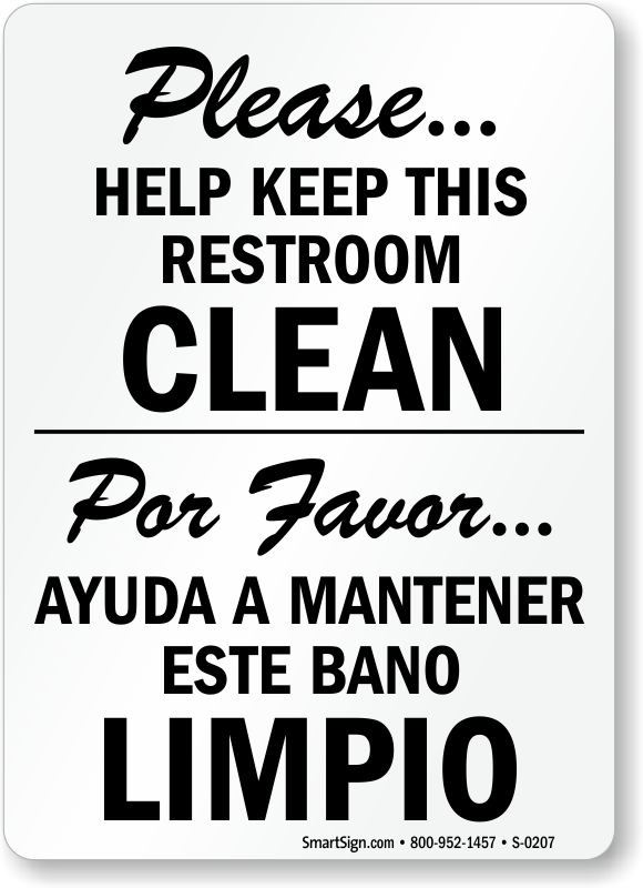bilingual bathroom signs | spanish bathroom signs