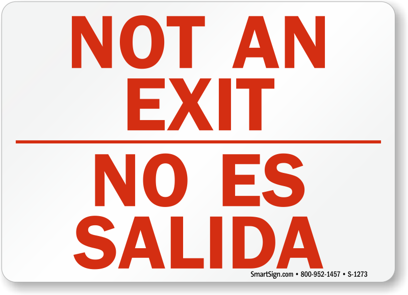 Bilingual Exit Door Signs on sign fire alarm sound