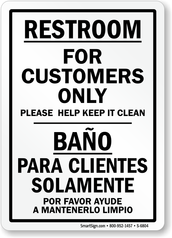 No public restroom signs for Clean the bathroom in spanish