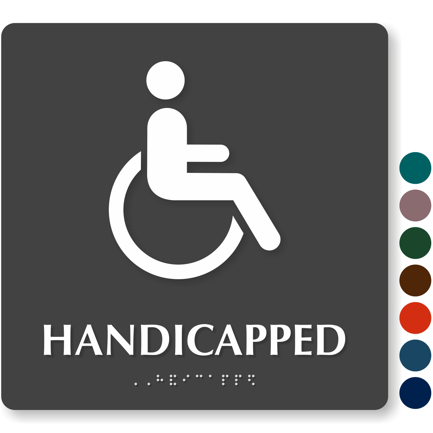 handicapped bathroom sign with braille 9in x 9in sku