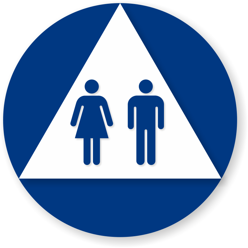 Bathroom Signs Circle And Triangle triangle unisex restroom sign on circle, blue and white, sku - se-1763
