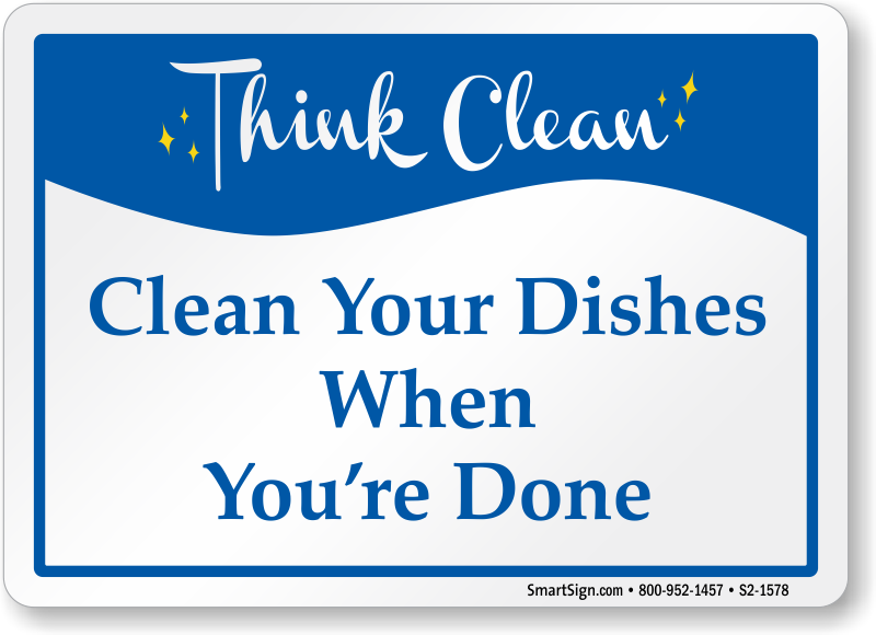clean dishes sign - photo #4
