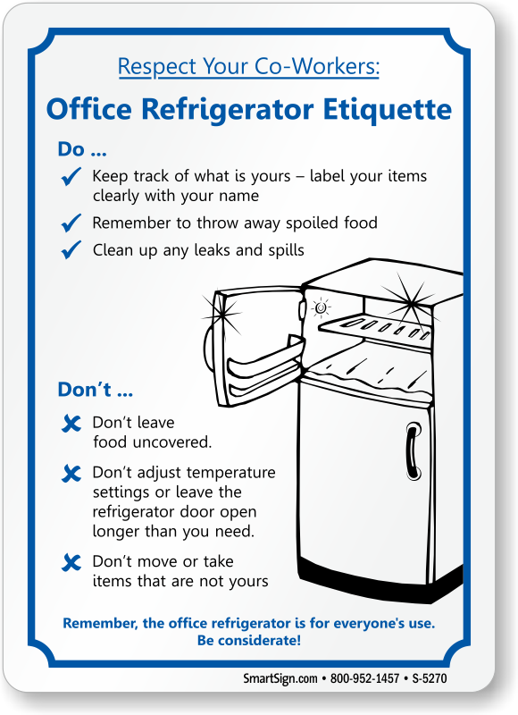 Breakroom Refrigerator Rules | just b.CAUSE