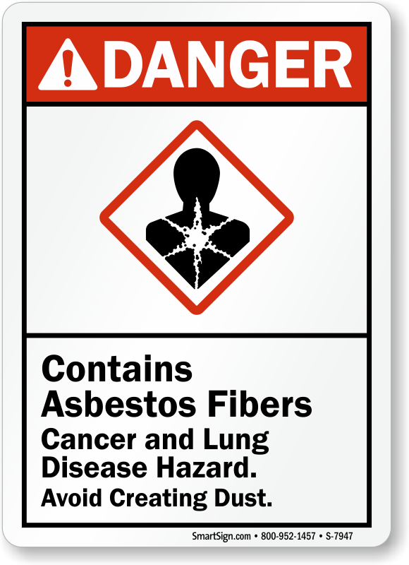 Contains Asbestos Fibers Cancer Lung Disease Hazard Sign