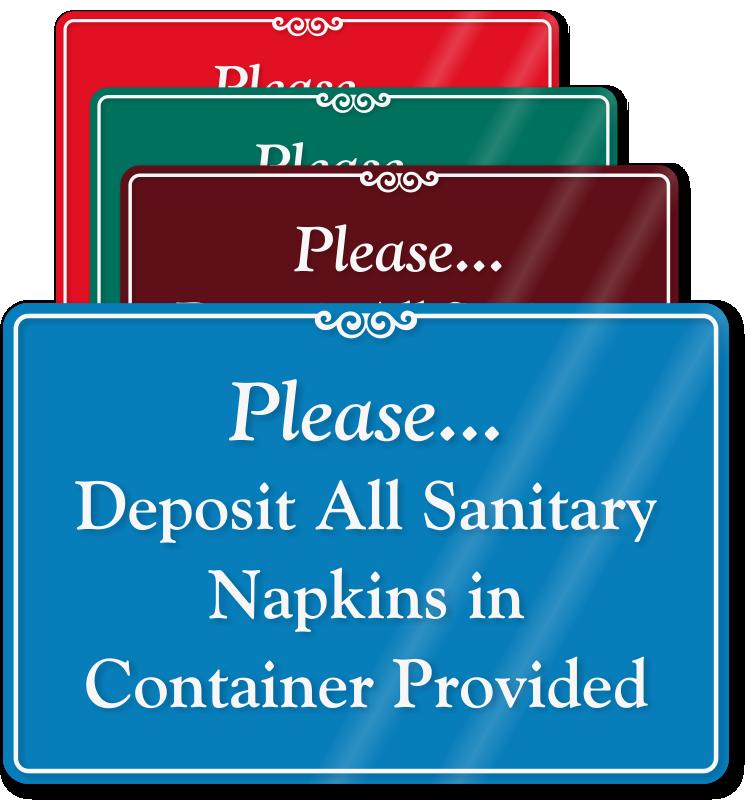 Bathroom Sanitation Signs: Do Not Deposit Sanitary Napkins