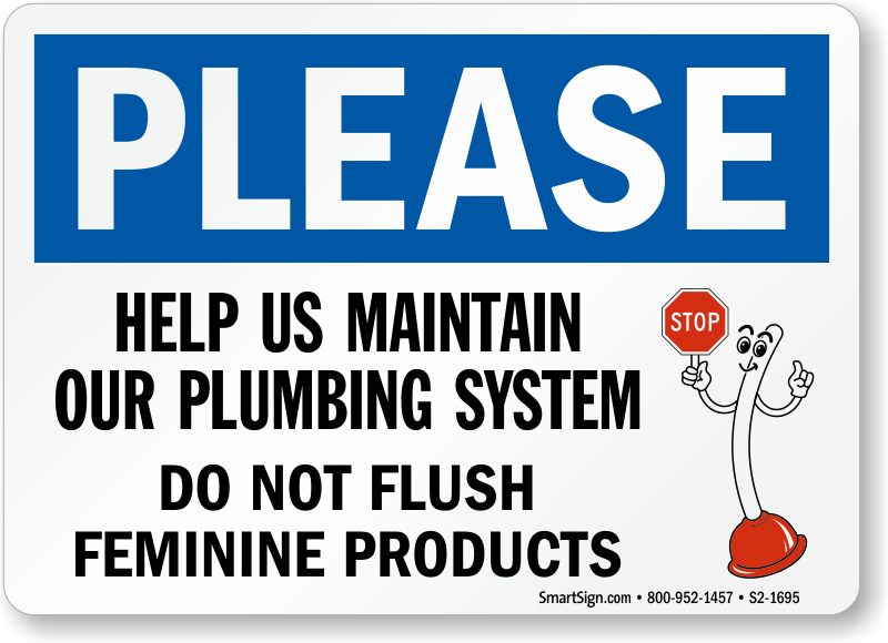 Bathroom signs do not flush feminine products pictures to pin on pinterest pinsdaddy for Do not flush signs for bathroom