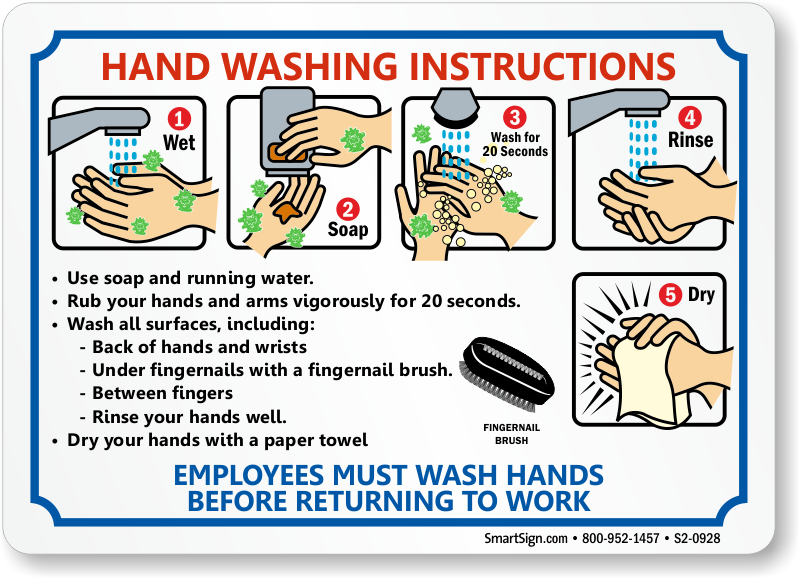 Bathroom Signs Wash Hands employees hand washing instruction, bathroom etiquette sign, sku