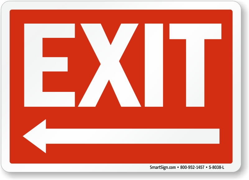 Delicate image with printable exit sign