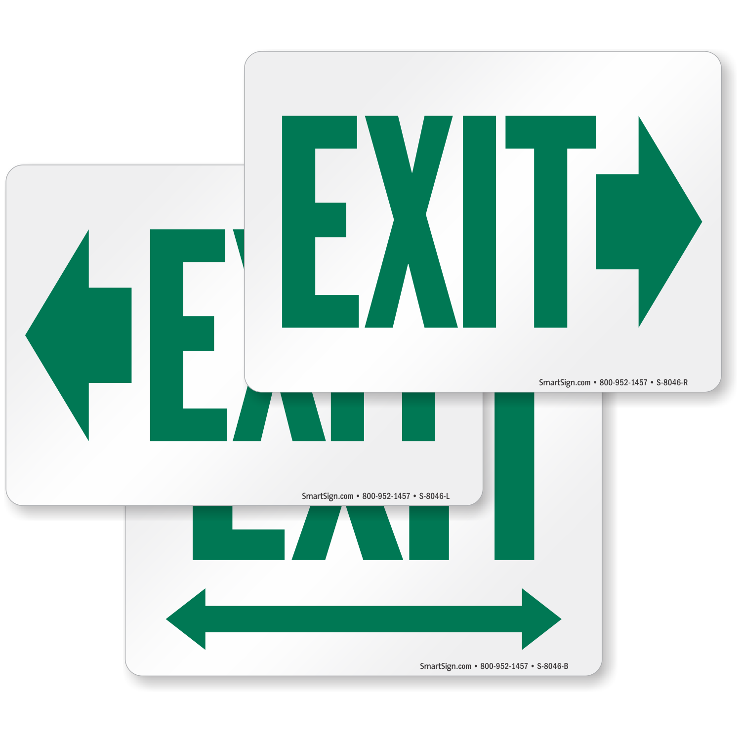 Exit With Green Right Arrow Direction Sign Sku S 8046 R