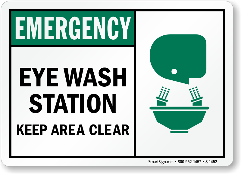eye wash station keep area clear sign sku s 1452. Black Bedroom Furniture Sets. Home Design Ideas