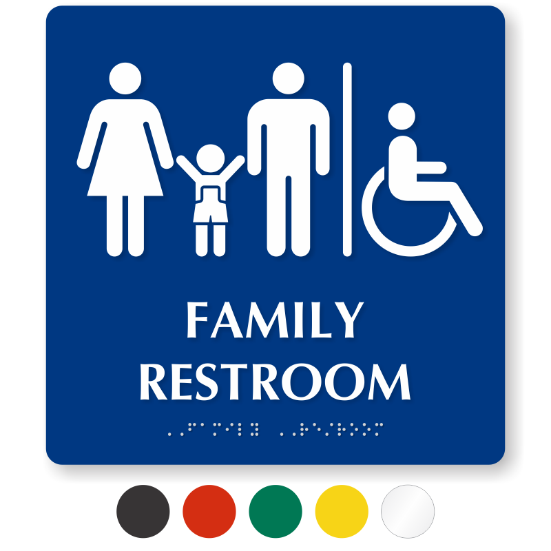 Bathroom Signs Braille family restroom signs