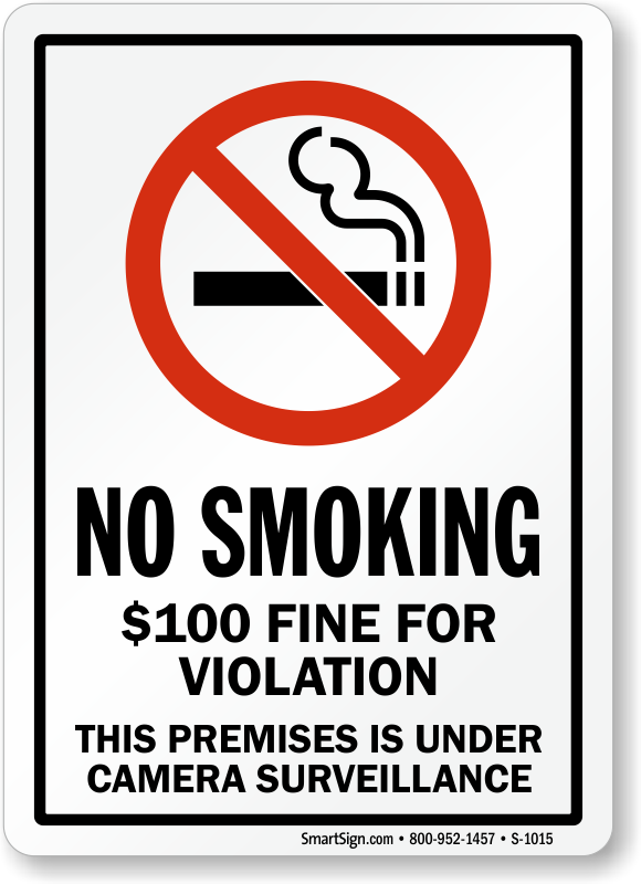 Fine For Violation No Smoking Sign Sku S2 1015