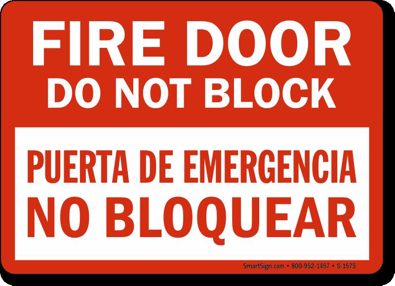 Fire Door Signs : Bilingual exit signs salida