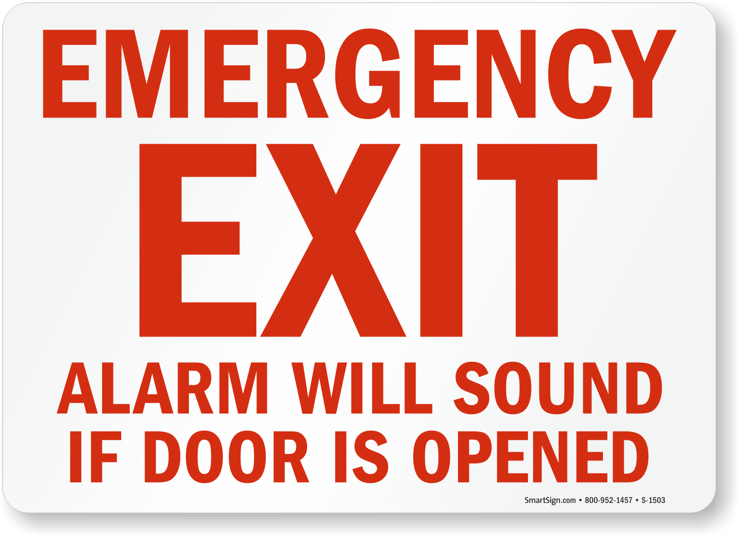 Emergency Exit Only Door Alarm Signs, Fire and Emergency ...