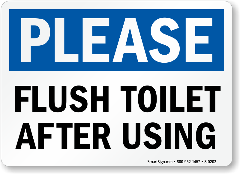Funny toilet flush signs
