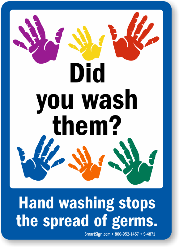 Hand Washing Stops The Spread Of Germs Hygiene Sign Sku