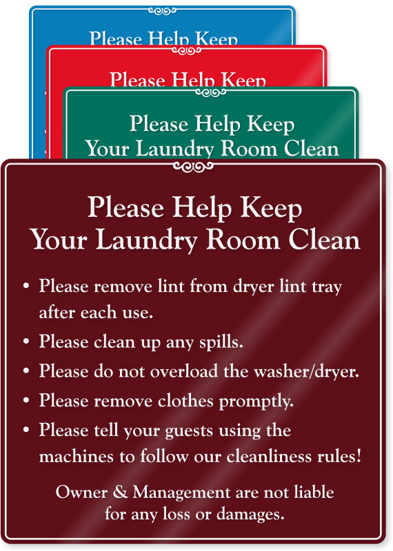 Laundry Room Hours Sign Apartment Laundry Room Etiquette