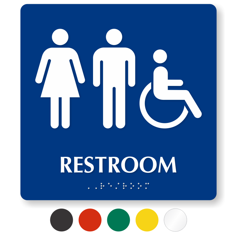 Login Funny Toilet Sign Door Sticker Custom Name Door: Braille Restroom Sign With Male, Female, Accessible