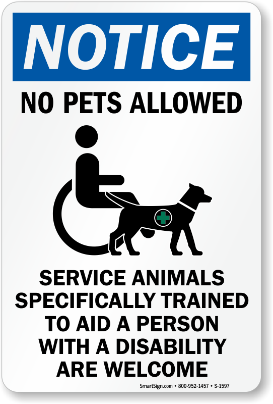 Fabulous image inside no pets allowed except service animals sign printable