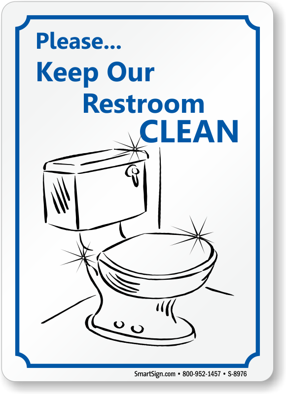 Bilingual Keep Restroom Clean Sign D5825 Bathroom Etiquette Signs