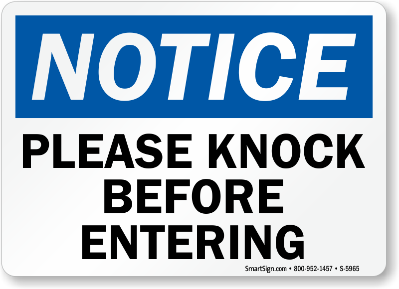 Simplicity image for please knock sign printable