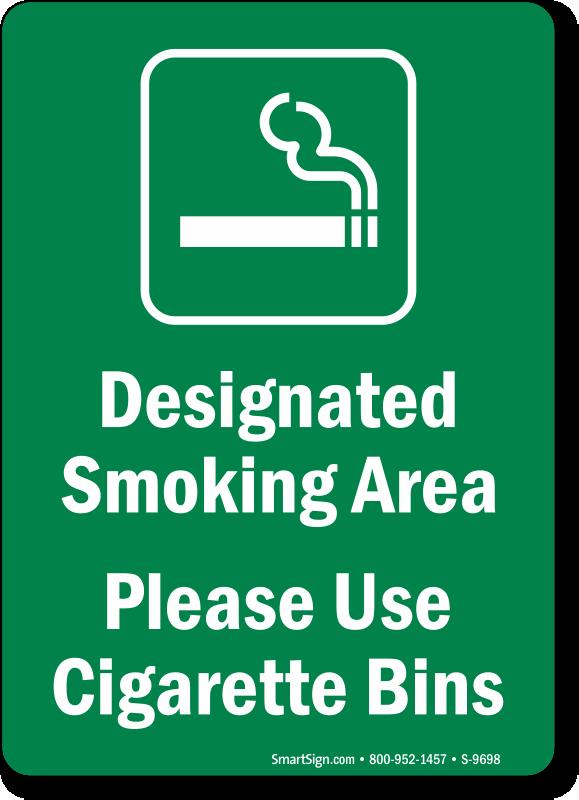 Designated Smoking Area - Please Use Cigarette Bins Sign, SKU: S-9698