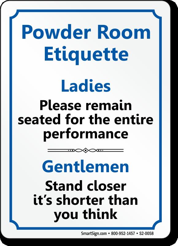 Powder Room Etiquette Ladies Gentlemen Restroom Sign Sku