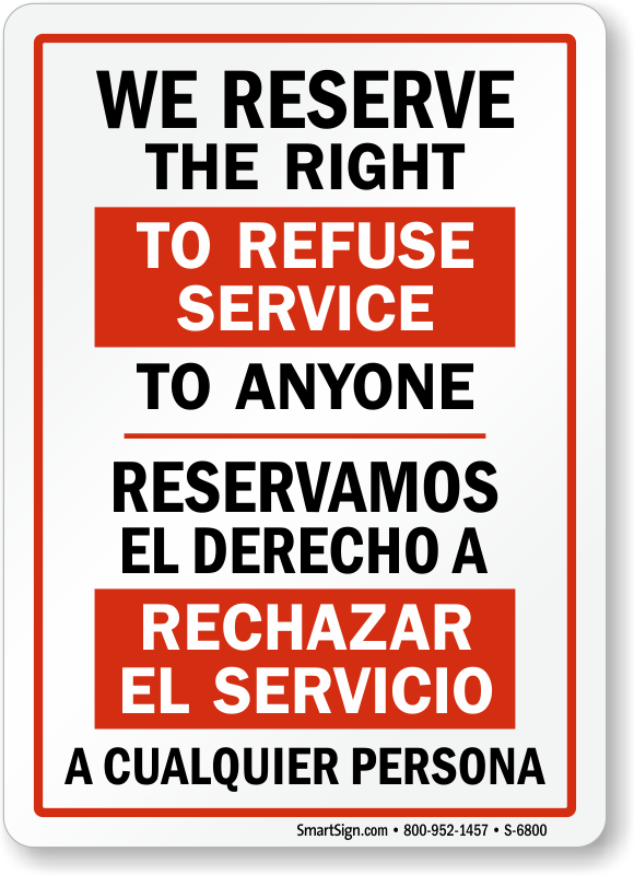 Geeky image inside we reserve the right to refuse service to anyone printable sign