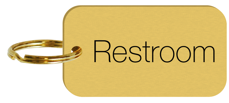 Brass Engraved Double Sided Restroom Key Tags Or Key Chains Sku