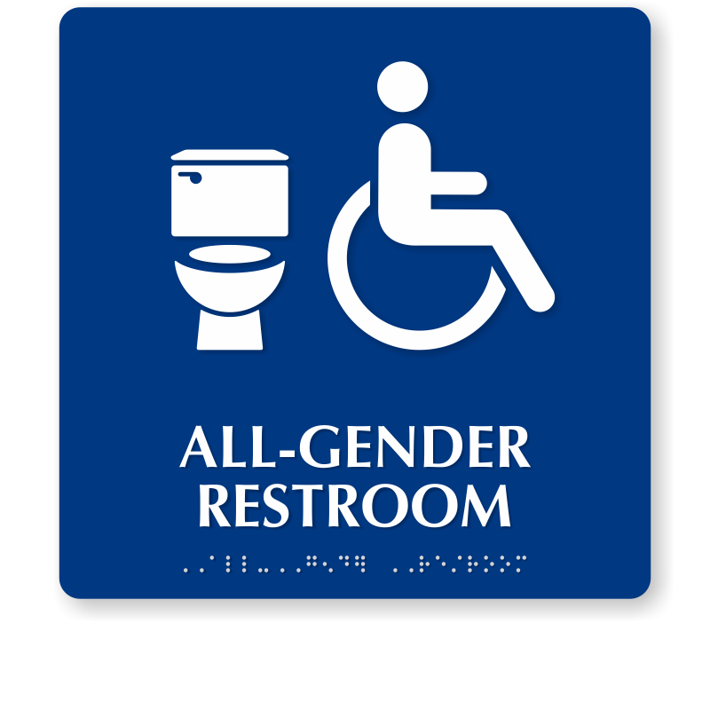 Bathroom Sign Handicap all gender restroom braille sign, handicap and toilet symbol, sku