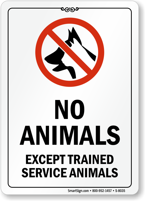 Lively image in no pets allowed except service animals sign printable