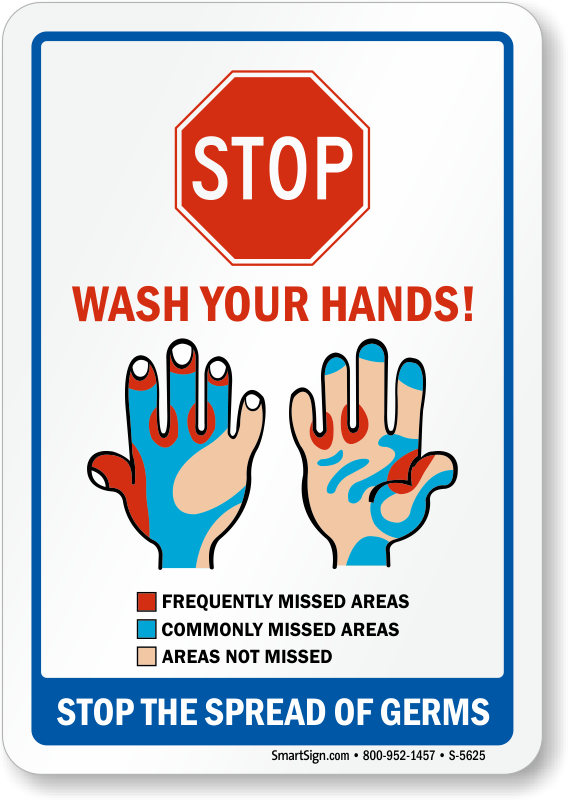 Stop The Spread Of Germs Wash Hands Sign Sku S 5625