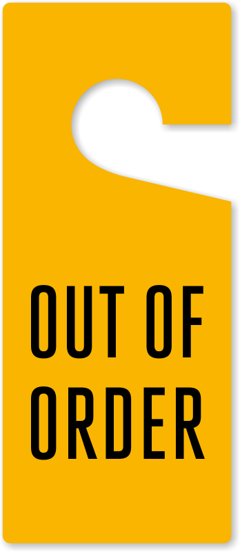 Out Of Order Door Knob Hang Tag At Low Price Sku Tg 1388