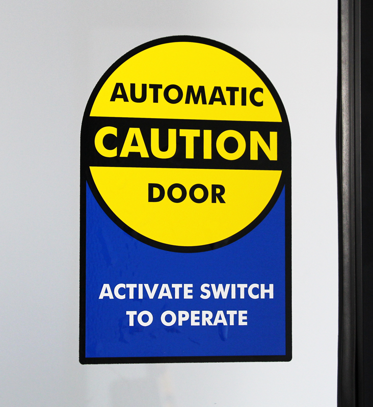 Caution automatic door label sided die cut labels sku