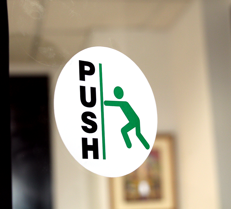 Login Funny Toilet Sign Door Sticker Custom Name Door: Pull Push 2-Sided Label With Graphic