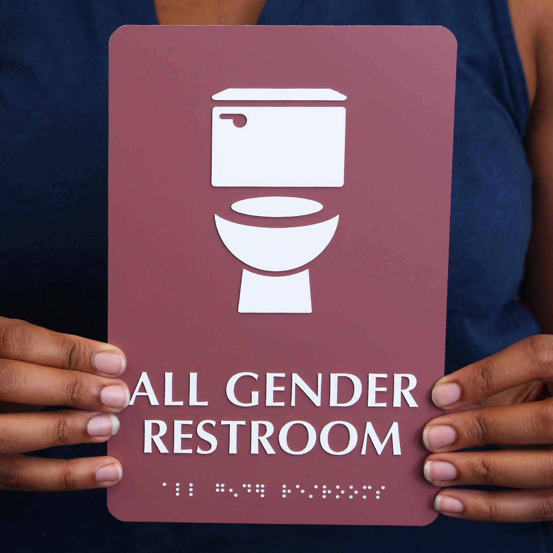 All Gender Restroom Braille Sign Toilet Bowl Symbol Sku