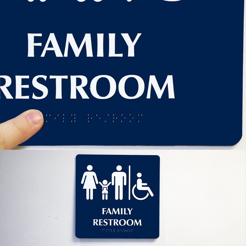Molded plastic frames  magnetic backing are available separately  Frames  add a professional touch to your sign. Male Female Child Accessible  Family Restroom Braille Sign  SKU