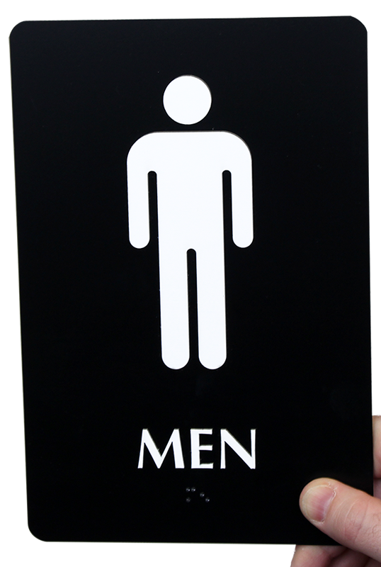 9in. x 6in. men bathroom braille sign, sku - se-1773-color