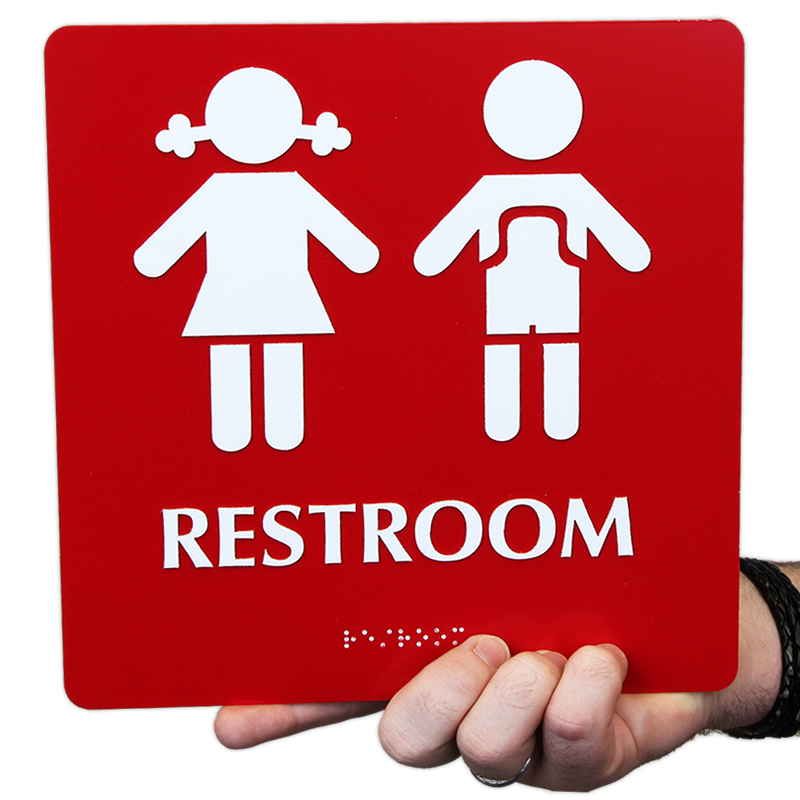 Unisex pre school sign boys girls pictograms fast shipping sku se 1778 color for Boy and girl bathroom door signs