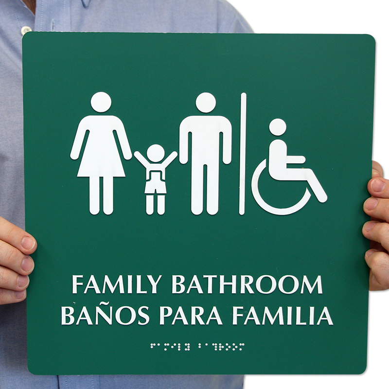 Loading. Braille Bilingual Family Bathroom Sign With Graphics  SKU   SE 2699